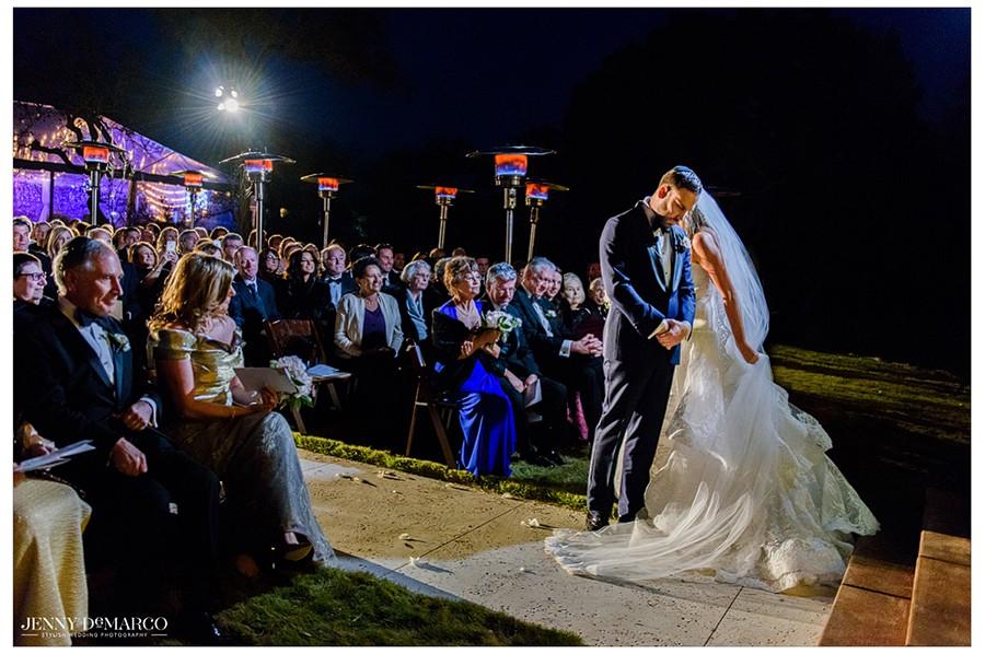 Bride circling groom at Jewish wedding