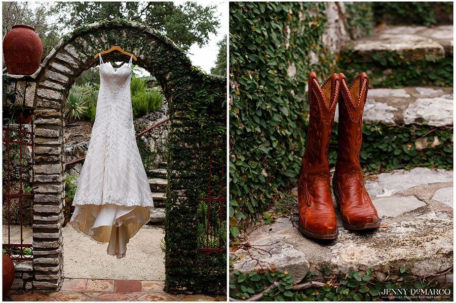 Artistic views of the bride's dress and cowboy boots along a stone path.