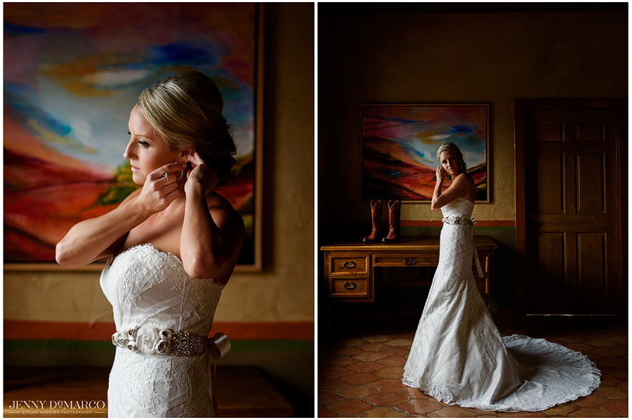 Amy continues to prepare for her walk down the aisle as she puts on her final touches with diamond earrings in the lighted window of the Hacienda.