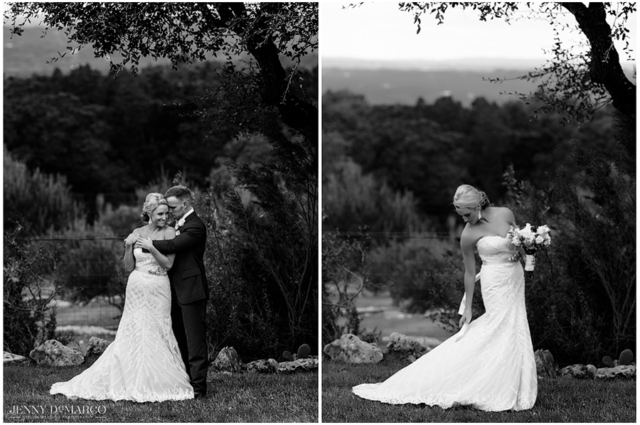 Two black and white photographs accompany one another while the bride fixes her dress and her groom embraces her in a hug.