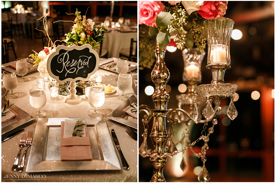 Details of the reception seating tables with reserved seats and candlelit centerpieces.