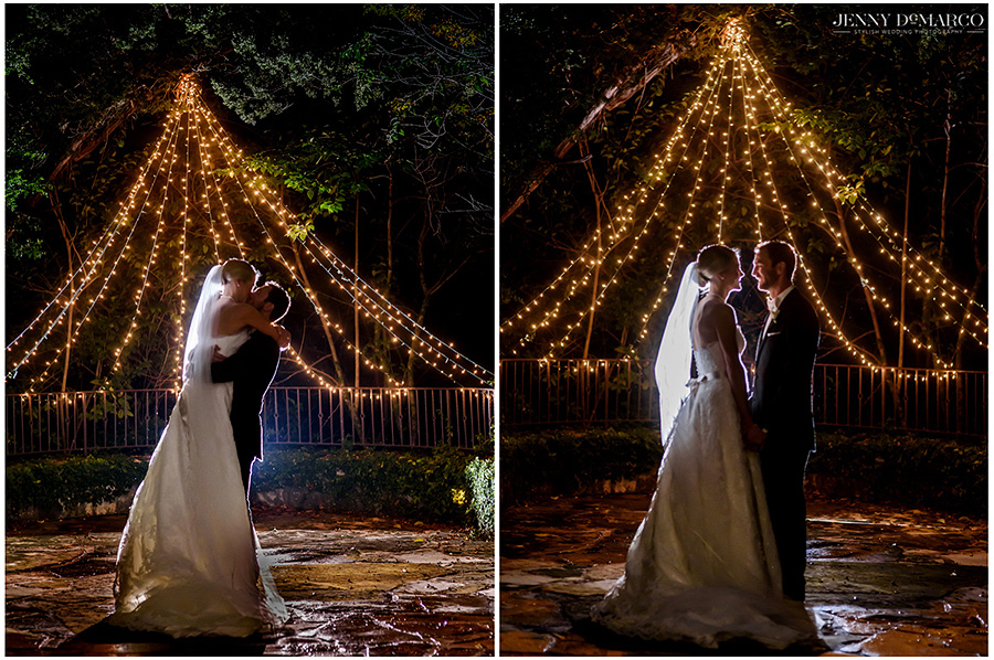The bride and groom under a canopy of twinkling lights. A picture of Hunter and Kyle kissing is juxtaposed next to a picture of the couple gazing lovingly at one another.