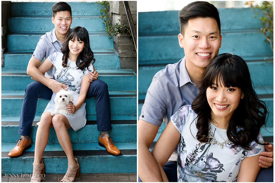 couple sits and poses on blue staircase, two photos shown side by side, one unclose, as the puppy sits in the girls lap