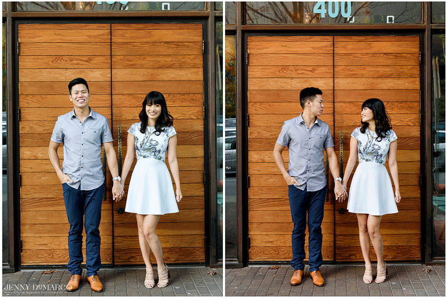 couple stands holding hands in two side by side images, the second looking at one another, outside a beautiful wooden door