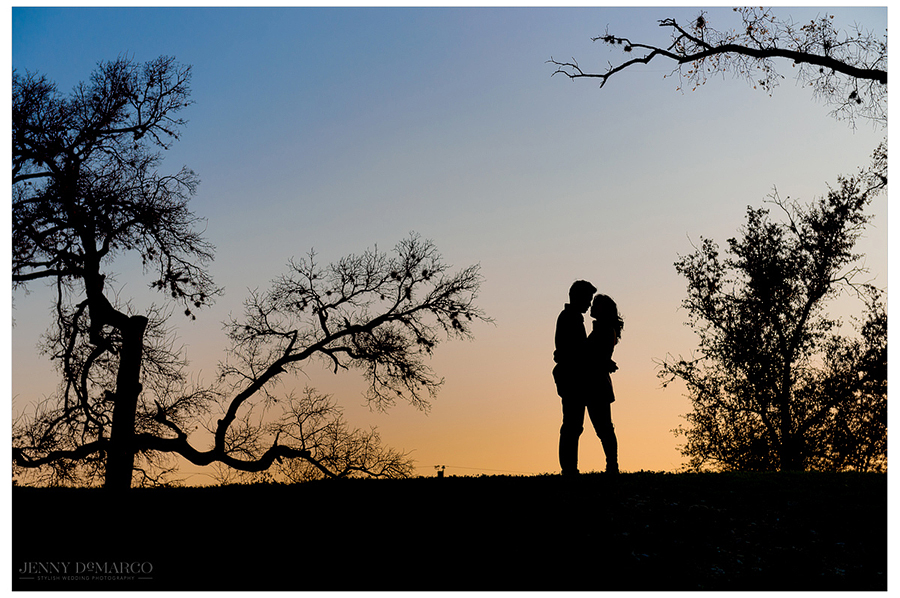 A silhouette of an engaged couple in Austin, Texas with a sunset background shot by the best wedding photographer in Texas, Jenny DeMarco Photography