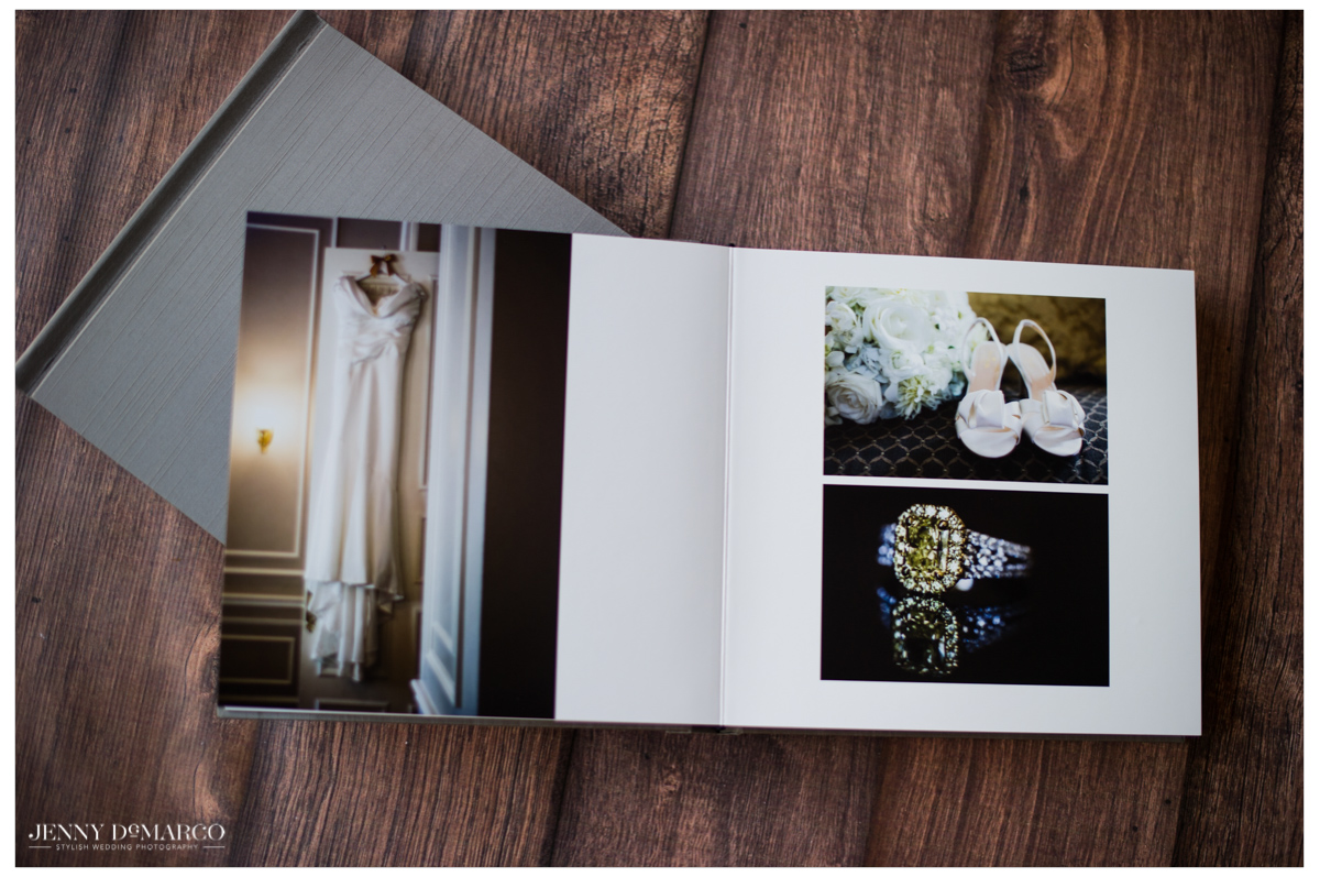 wedding album open to a spread showing the brides clothing details such as her dress and shoes