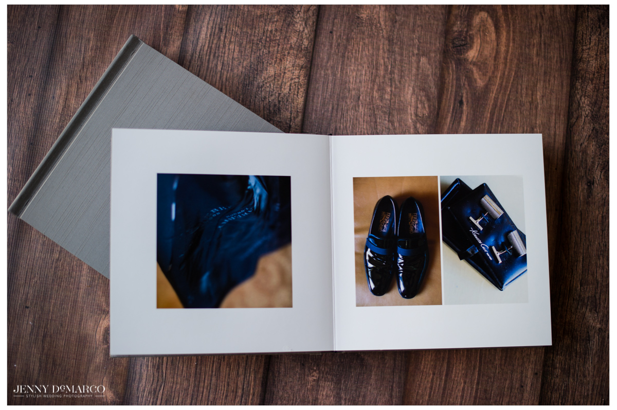 wedding album open to a spread of the grooms clothing details such as his shoes and cuff links shot by the best wedding photographer in texas, Jenny DeMarco