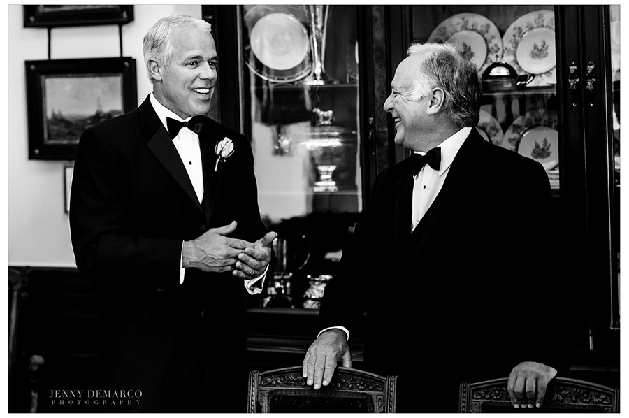 Father of the bride and father of the groom, Senator Kirk Watson, share a laugh before the wedding.