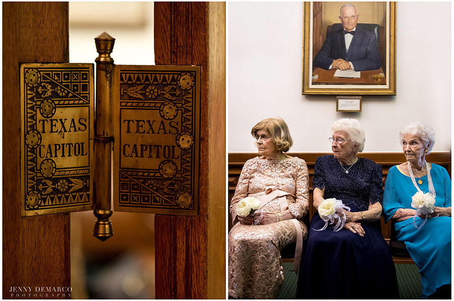 The Texas State Capitol door-hinge next to three grandmothers waiting for the ceremony to begin.
