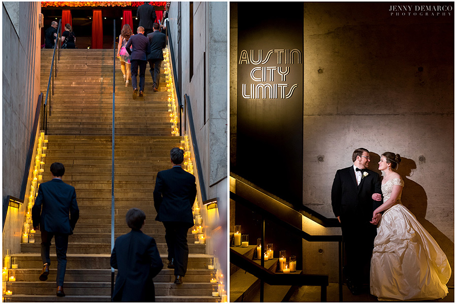 Guests make their way up the stairs of the ACL Moody Theater to the reception. Bride and Groom stand by the candlelit stairs under the ACL sign and gave lovingly at one another.