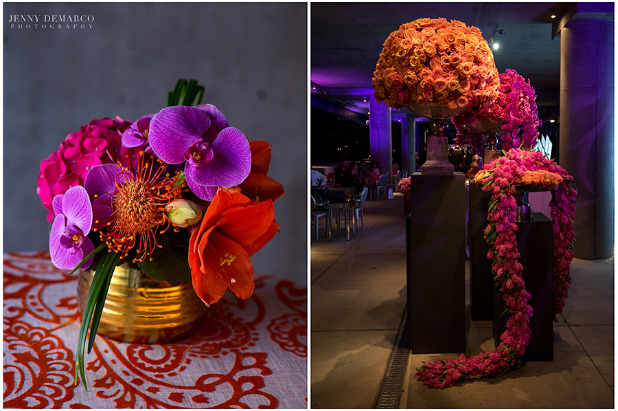The first image is an arrangement of purple Phalaenopsis Orchids, Pincushion, Hydrangea and Amaryllis in a small gold vase. The image on the right has arrangements consisting of different varieties of orange roses, purple phalaenopsis orchids, hydrangea and pink roses. The garland is made of pink hyacinth.