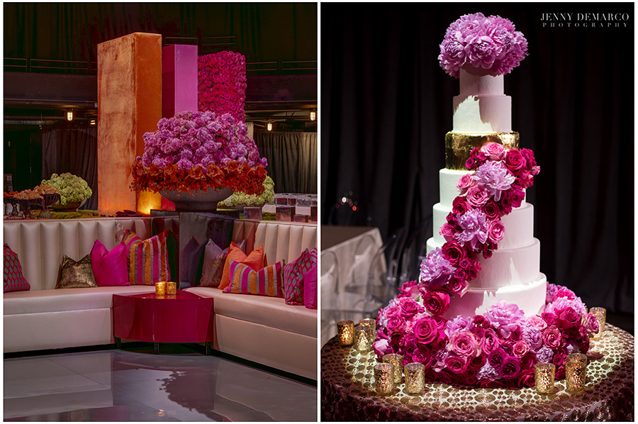 The image on the left captures the suave attitude the venue projects emphasized by the peonies, roses, hydrangea, Mokara orchids and amaryllis in the large urn. The image on the right shows the seven tiered wedding cake covered in Peonies and roses.