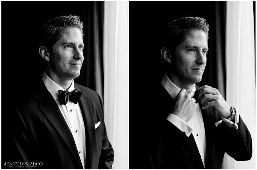 Two side by side portraits of the groom before the wedding in his tux.