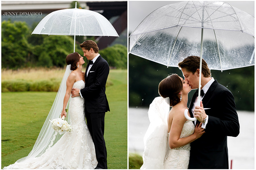 A side by side portrait of the bride and groom standing under the umbrella and kissing on the Austin Country club golf course.