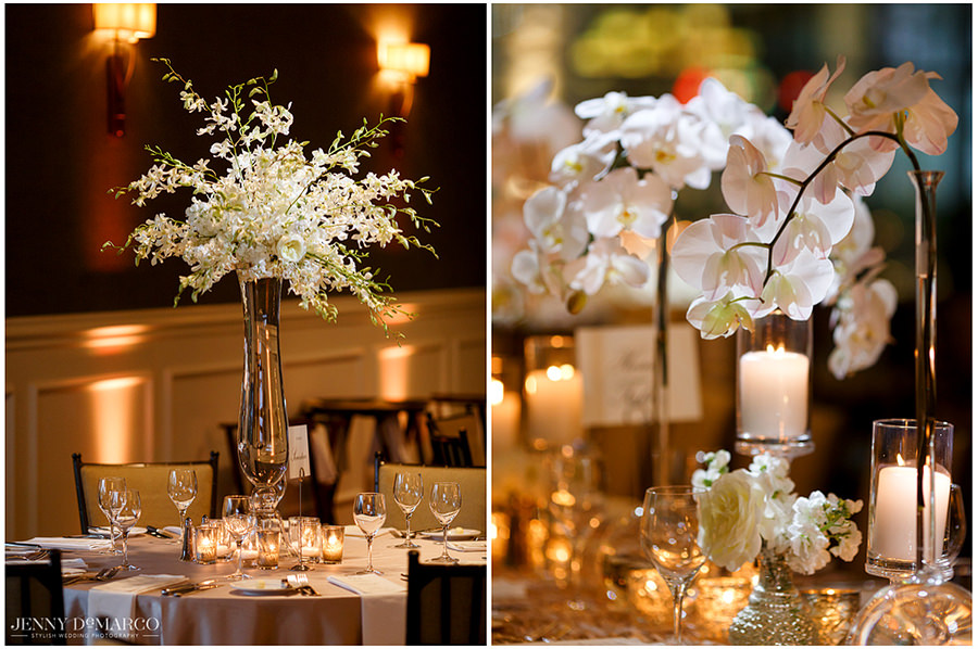 Side by side portraits of flower centerpieces at the dining tables.