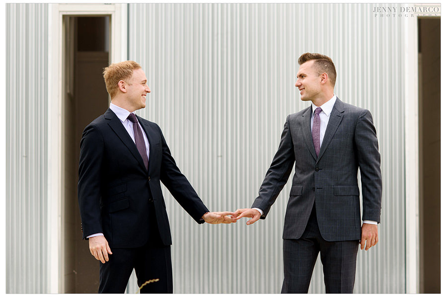 Grooms turn around and see each other for the first time.