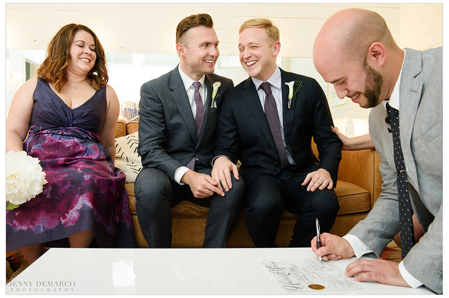 Soon after the Supreme Court allowed same-sex marriage, two grooms are overcome with joy to have their marriage certificate officially signed.