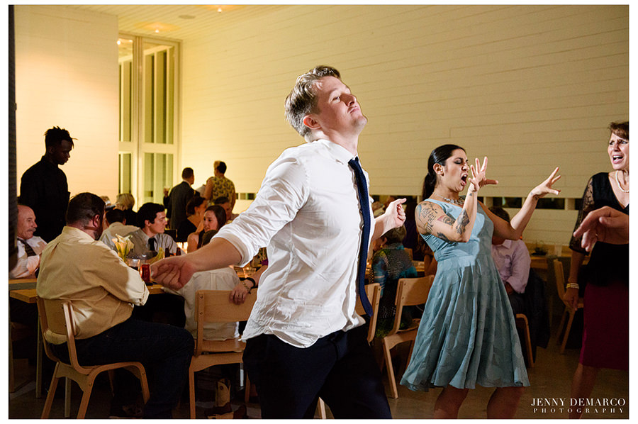 Guests dance during the reception.