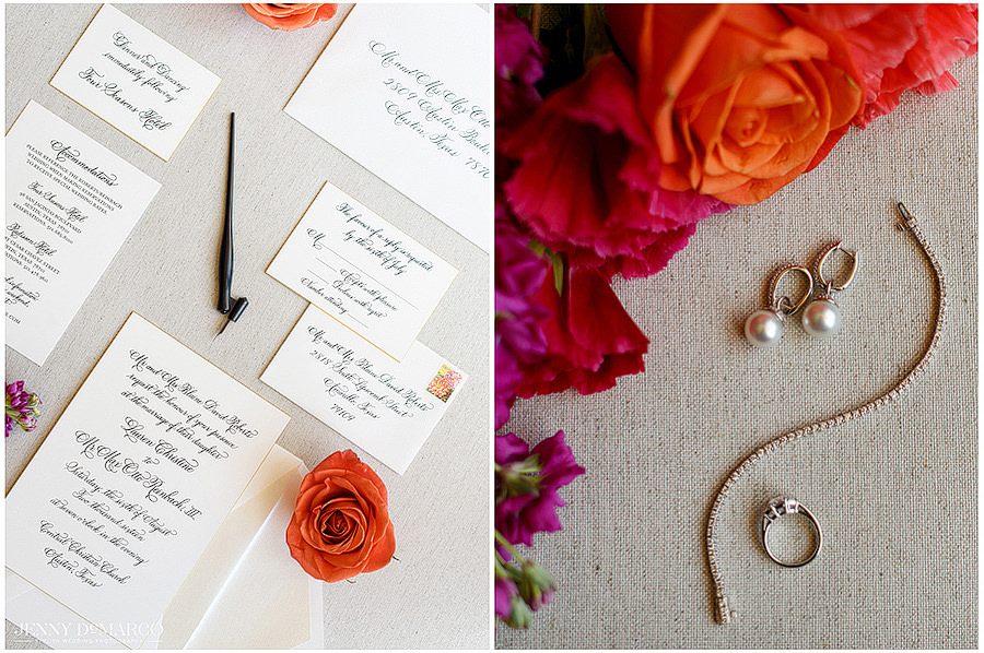 A side by side photo of the details of the wedding which includes the wedding invitations and the jewelry of the bride.