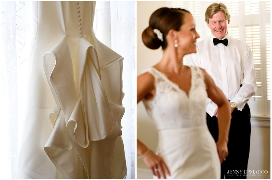 A side by side picture of the back of the brides dress detailed with buttons and a bustle. The second photo is of her father having his first look at the bride in her wedding dress.