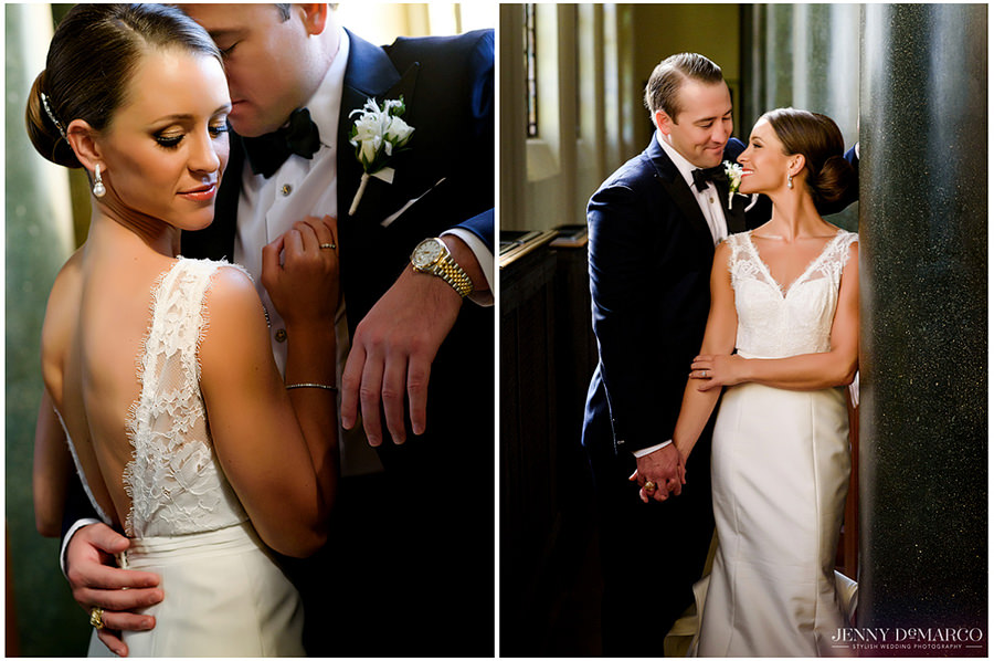 Two portraits of the bride and groom in the church side by side holding hands and hugging before the ceremony.