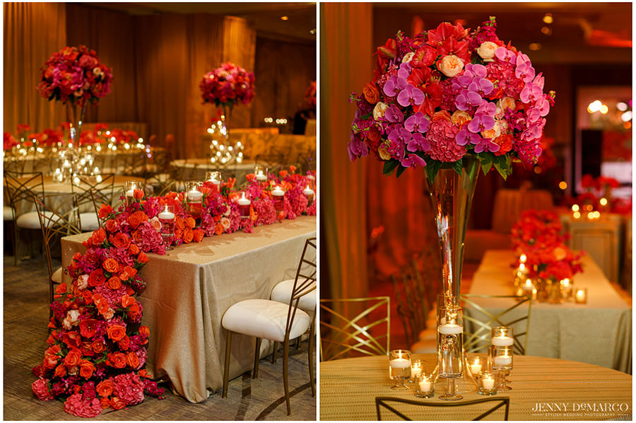 Two pictures side by side showing the details of the table's centerpieces. Each table has a beautiful red and pink rose centerpiece with candles surrounding.