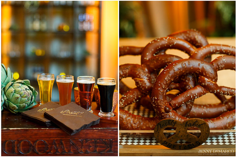 Two photos side by side of the details of the beer and pretzel room. One picture shows a flight of beer and the other shows an up close shot of the pretzels.