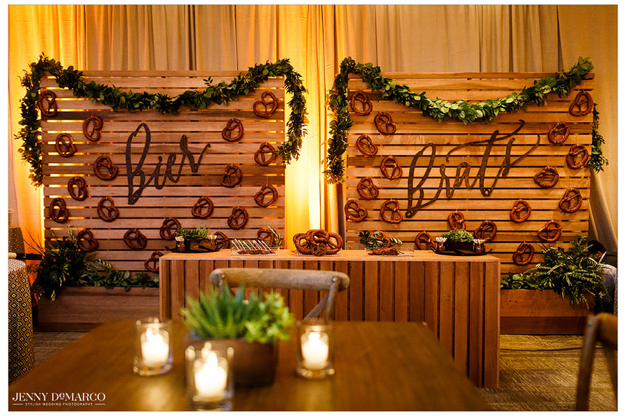 The pretzel wall and room awaiting the guests before the reception.