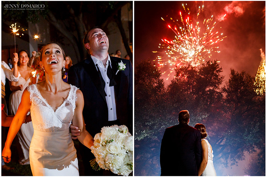 As the bride and groom exit the reception, they are surprised with fireworks and take a moment to enjoy them together.