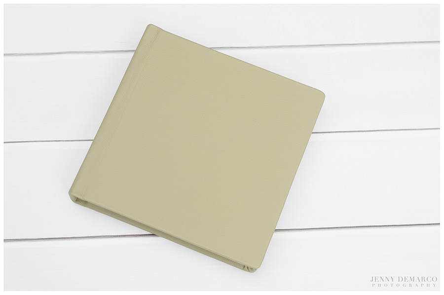 A clean and classic, warm gray, leather wedding album cover.