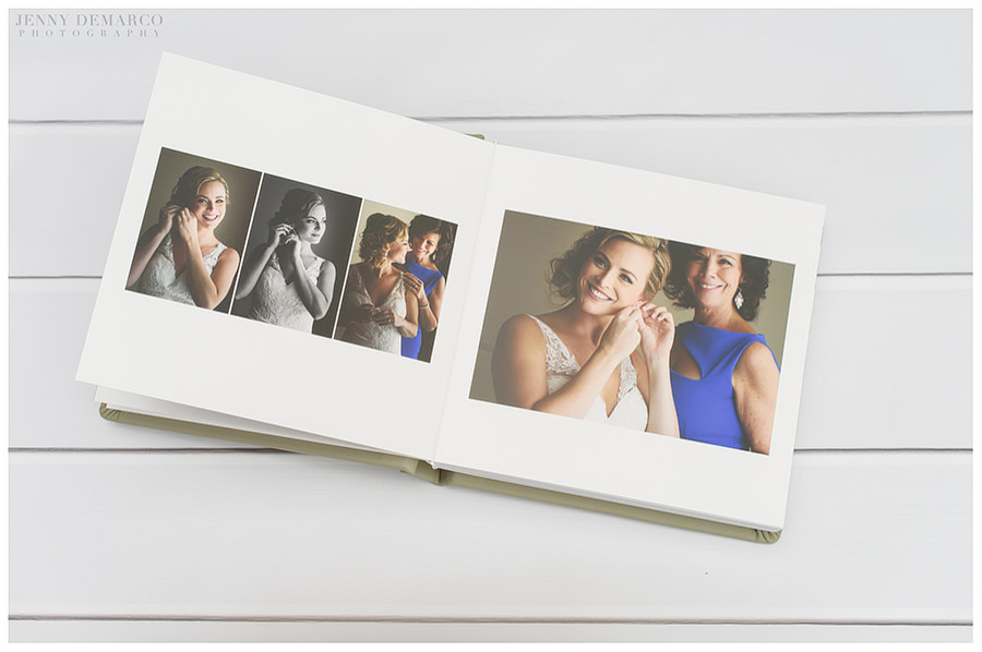A wedding album spread featuring the bride getting ready.