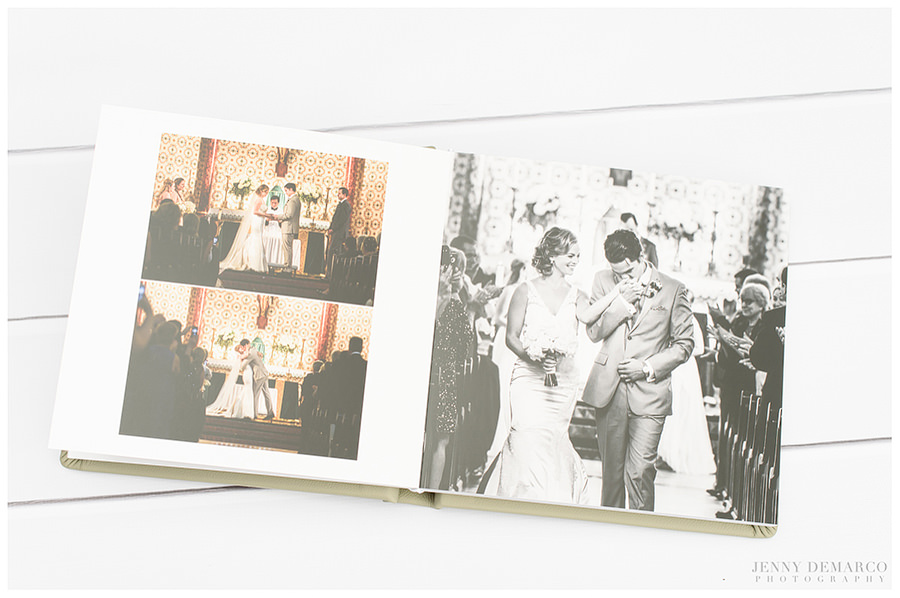 A wedding album spread featuring the first kiss and walk down the aisle.