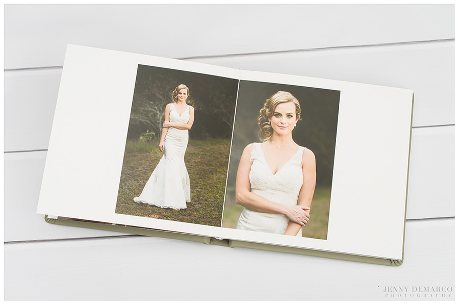 A wedding album spread featuring the bridal portrait.