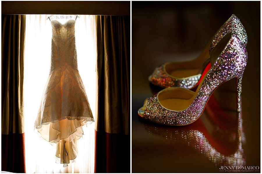 Details of the wedding dress and shoes.