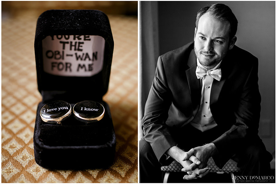 The wedding rings and portrait of the groom.