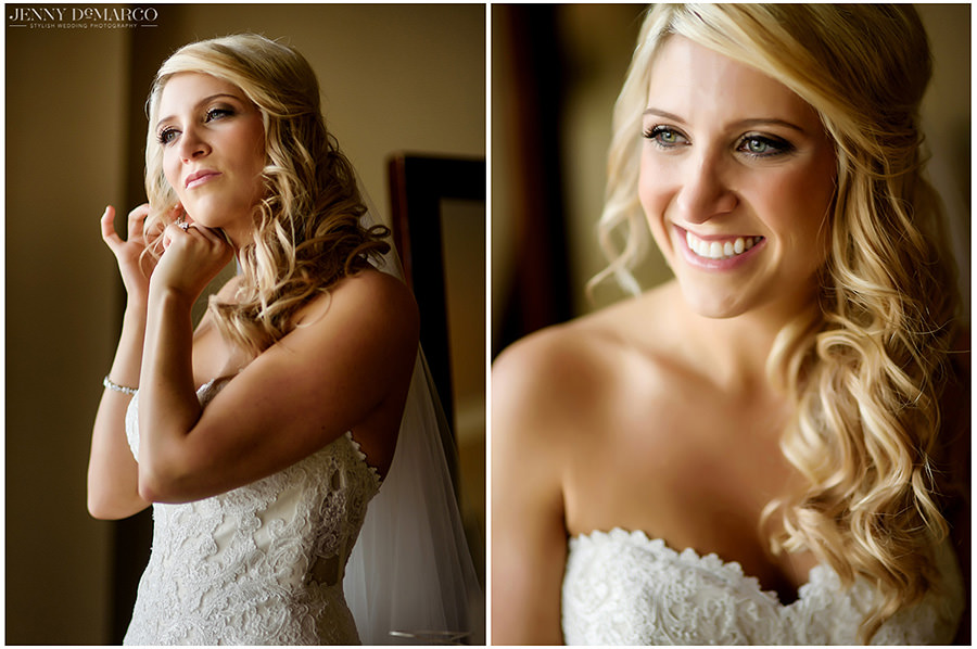 Two portraits of the bride getting ready.