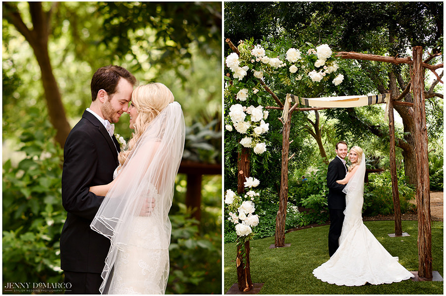 Two portraits of the bride and groom under the chuppah during the first look.