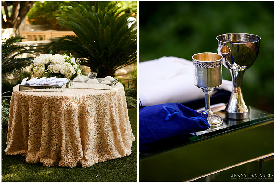 Details of ceremony table and kiddish cup.