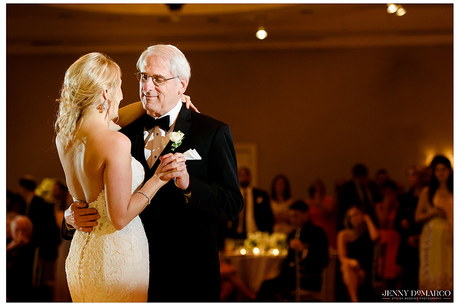 The bride dancing with her father.