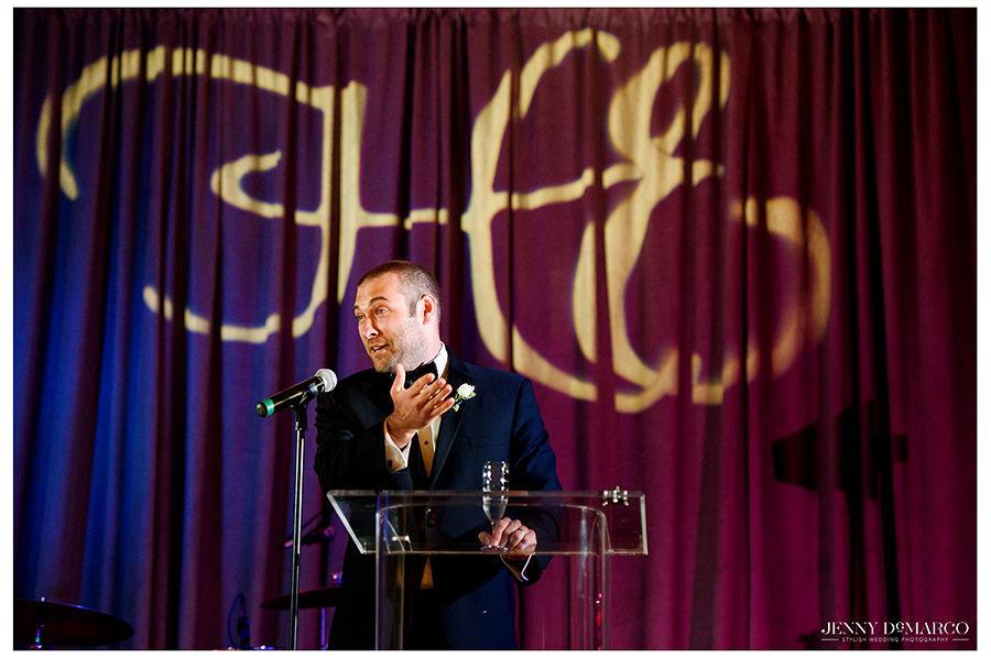 A groomsman makes a speech.