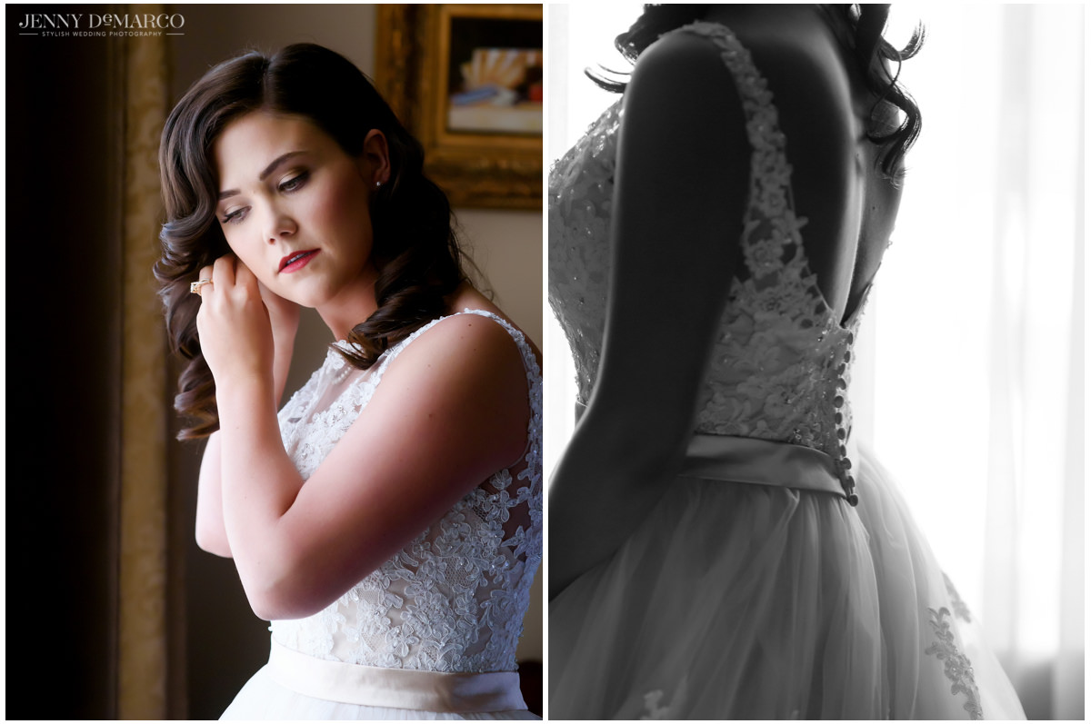 Bride putting on her earrings before the ceremony, plus the little details of the back of her wedding dress