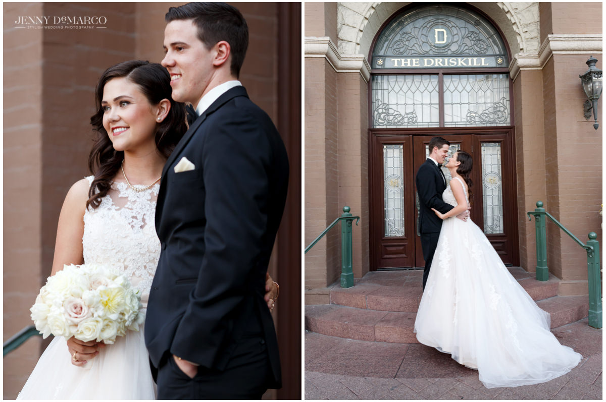 Portraits of the bride and groom outside of their venue in Austin, the Driskill Hotel