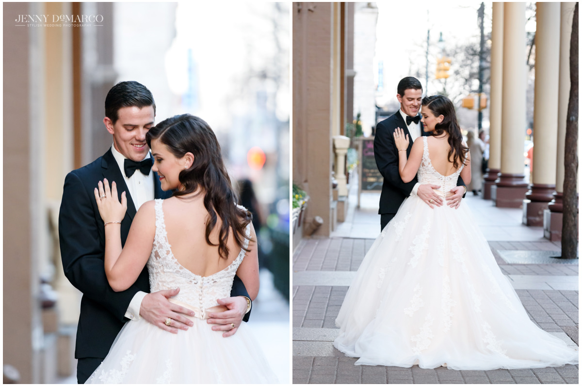 Portraits of the bride and groom outside of the Driskill Hotel