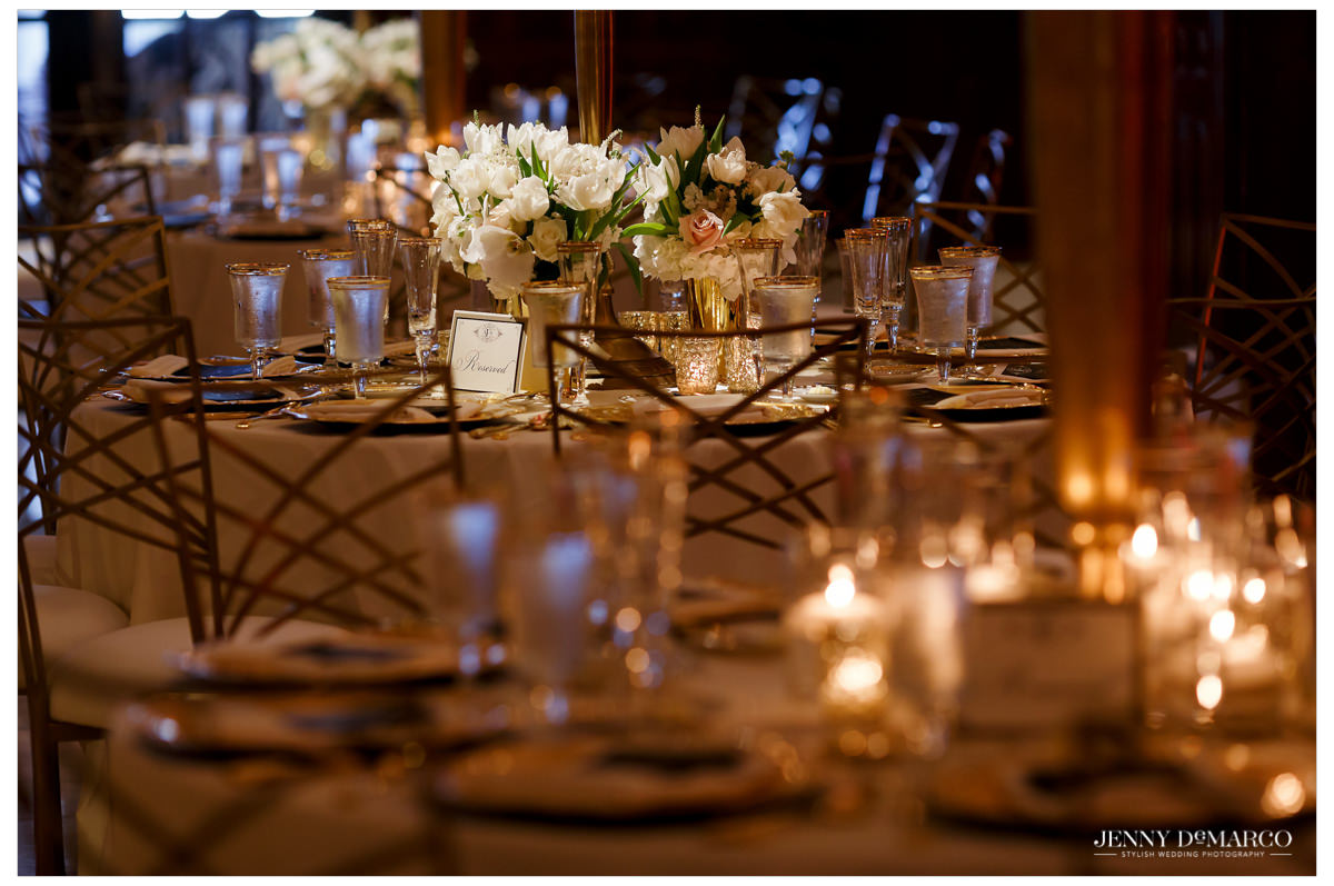 Spotlight on the details of one of the dining room tables.