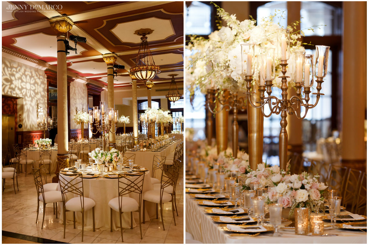 The dining room with heavy gold accents and pastel and white flower arrangements.