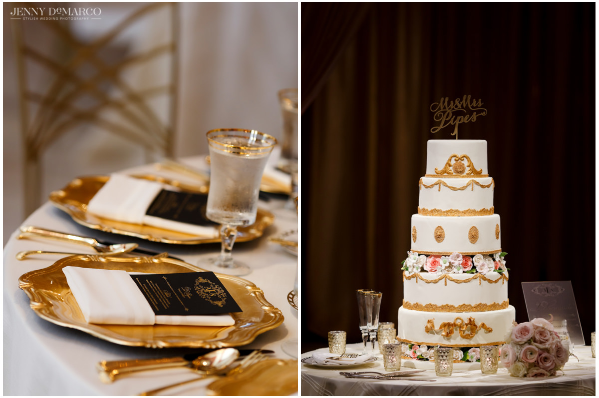 Details of the reception: the left is of the black dinner menus with gold and the regal tiered wedding cake