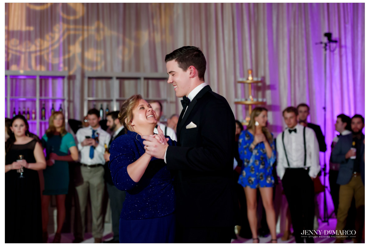 The groom and his mother dancing.