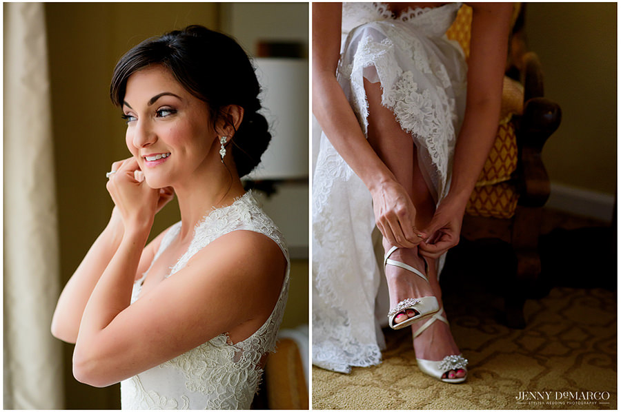 Two photos side by side of the details of the brides jewelry, dress, and shoes.