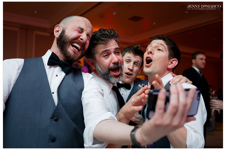 The guests sing and take a selfie to capture the moment.