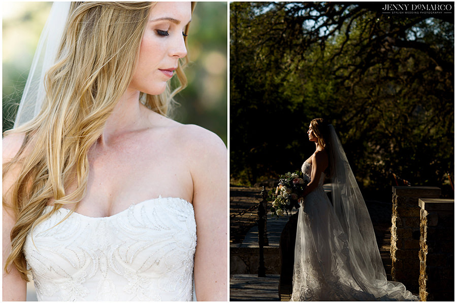 Two portraits of the bride. On the left, a bright close up as she looks down. On the right, she looks to the sun.